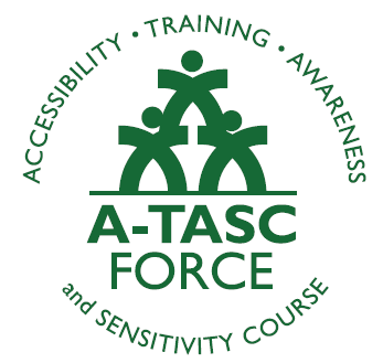 "Changing the Culture Logo: Two stylized human forms with a third human form standing on their shoulders. The words ""accessibility, training, awareness and sensitivity course"" ring the figures."