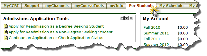 Image of For Students tab within MyCCRI