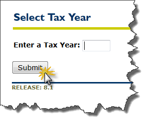 image of selecting a tax year