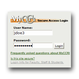 image of login screen