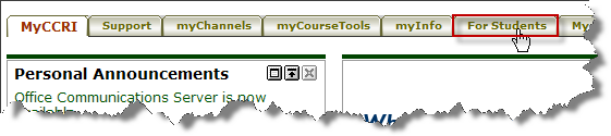 Graphic of the menu tabs in MyCCRI with the For Student tab highlighted