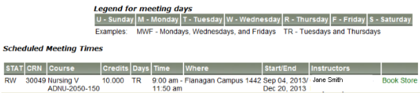 image of student schedule