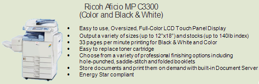 Ricoh 3300 color copy machine, Room 2335 (Purchasing)