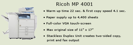 Ricoh MP 4001 copy machine, Information Technology