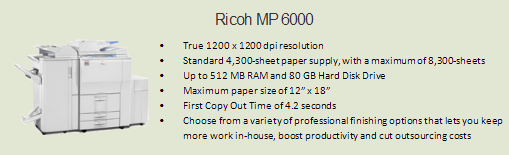 Ricoh 6000 copy machine, Room 1068 (Student Services)