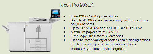 Ricoh 906ex copy machine, Room 227 (Faculty Area)