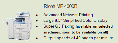 Ricoh 4000 copy machine, Room 2092 (IT)