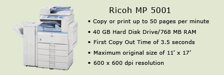 Ricoh MP 5001 copy machine, Room 4561 (Library)
