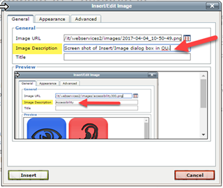 Screen shot of Insert/Image dialog box in OU.