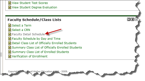 MyCCRI For Faculty page, showing Faculty Schedule links