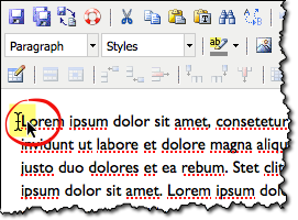 insert cursor at beginning of paragraph