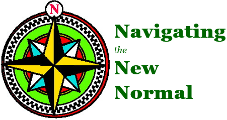 "online support group logo comprised of a compass rose and the words ""Navigating the New Normal."""